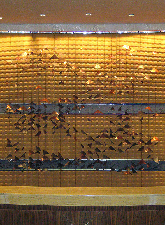 Reflections hotel art wall sculpture located at the Ritz Carlton Hotel in ShenZhen, China.
