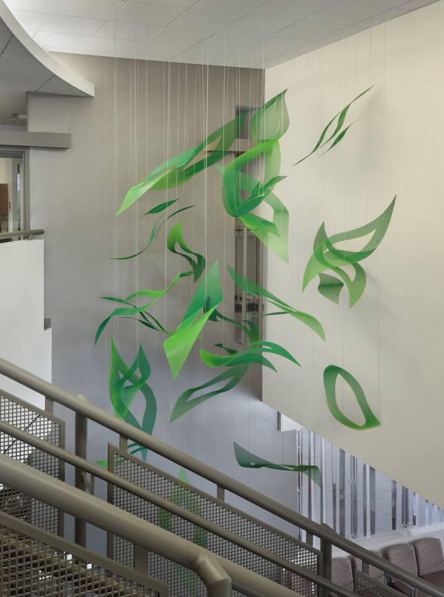 Talley Fisher's Emerald Cascade healthcare art suspended sculpture in Sam Houston State University, Student Health & Counseling Center