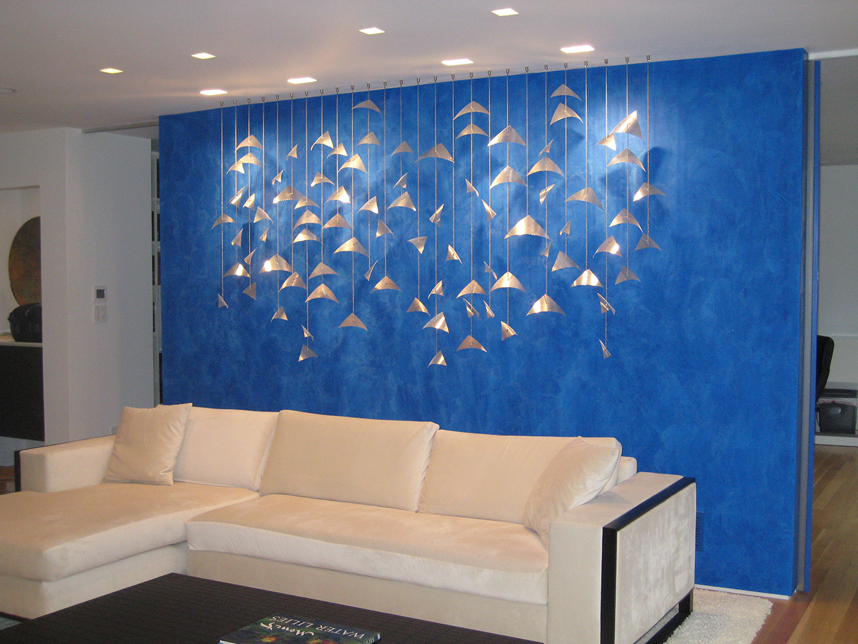 Suspended wall sculpture, Allegro, residential sculpture by Talley Fisher