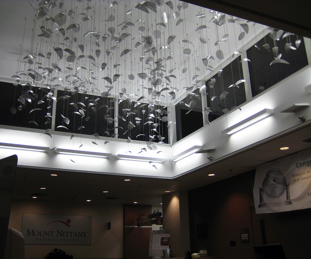Constellation suspended sculpture by Talley Fisher,located at Mount Nittany Medical Center
