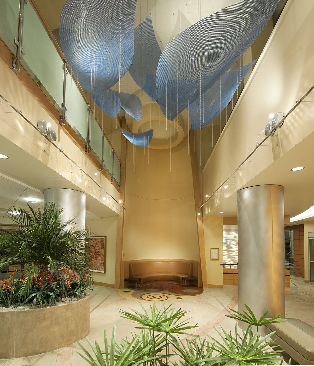 Talley Fisher's Crescendo healthcare art suspended sculpture in lobby of George and Julia Argyros Health Center