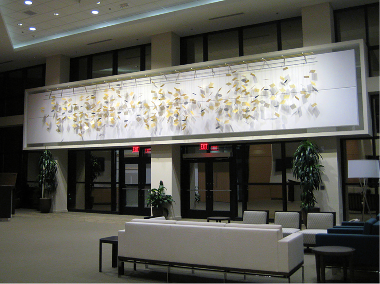 Data Stream corporate art wall sculpture by Talley Fisher in SAS Institute, Inc