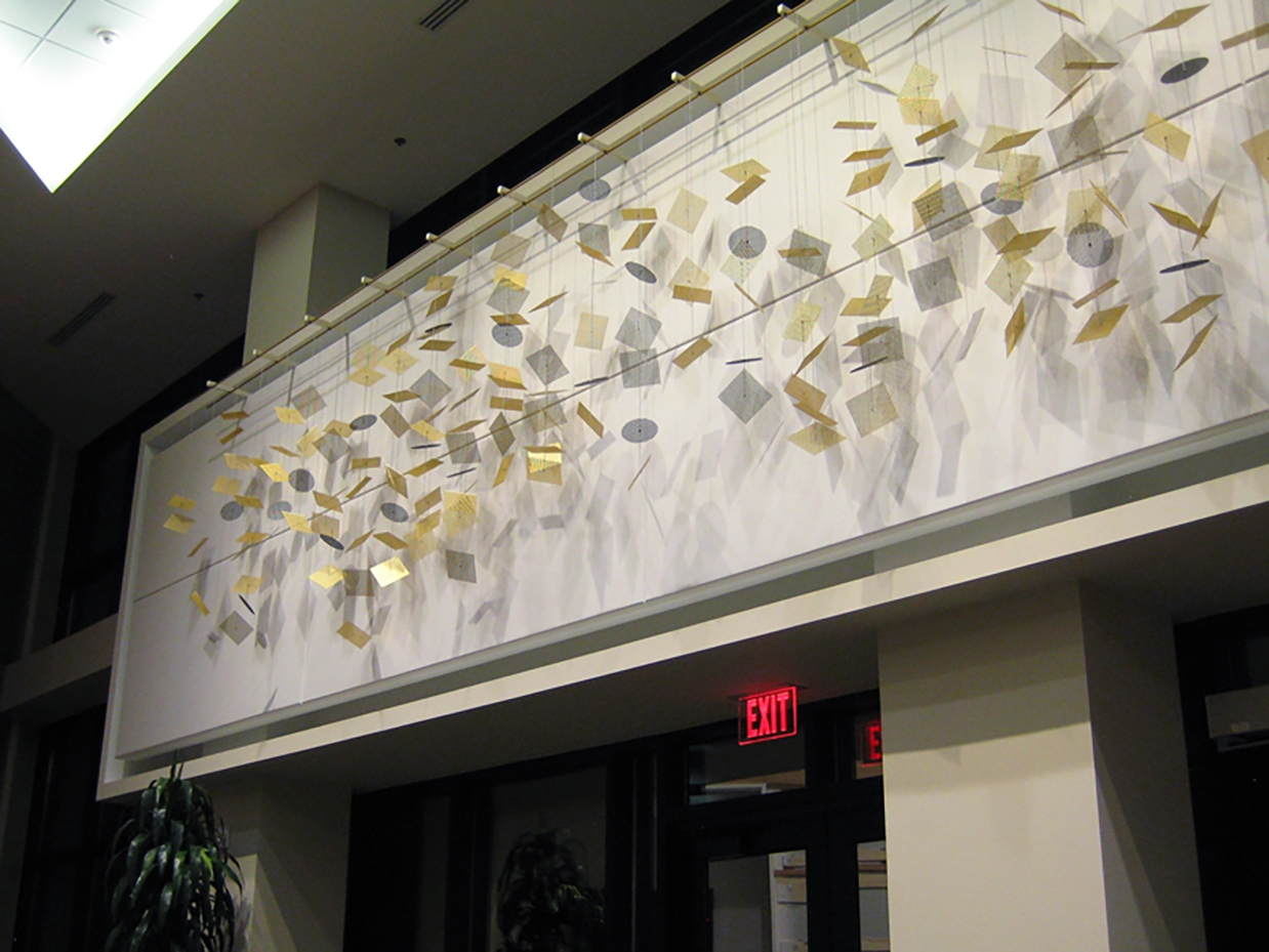 Data Stream corporate art wall sculpture by Talley Fisher in the lobby of SAS Institute, Inc