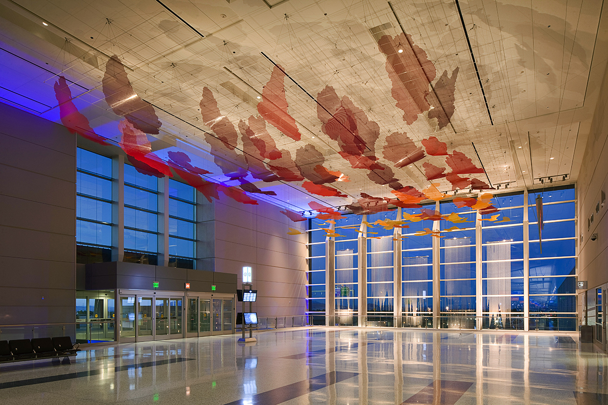 Talley Fisher's Desert Sunrise sculpture, public art piece in McCarran International Airport.