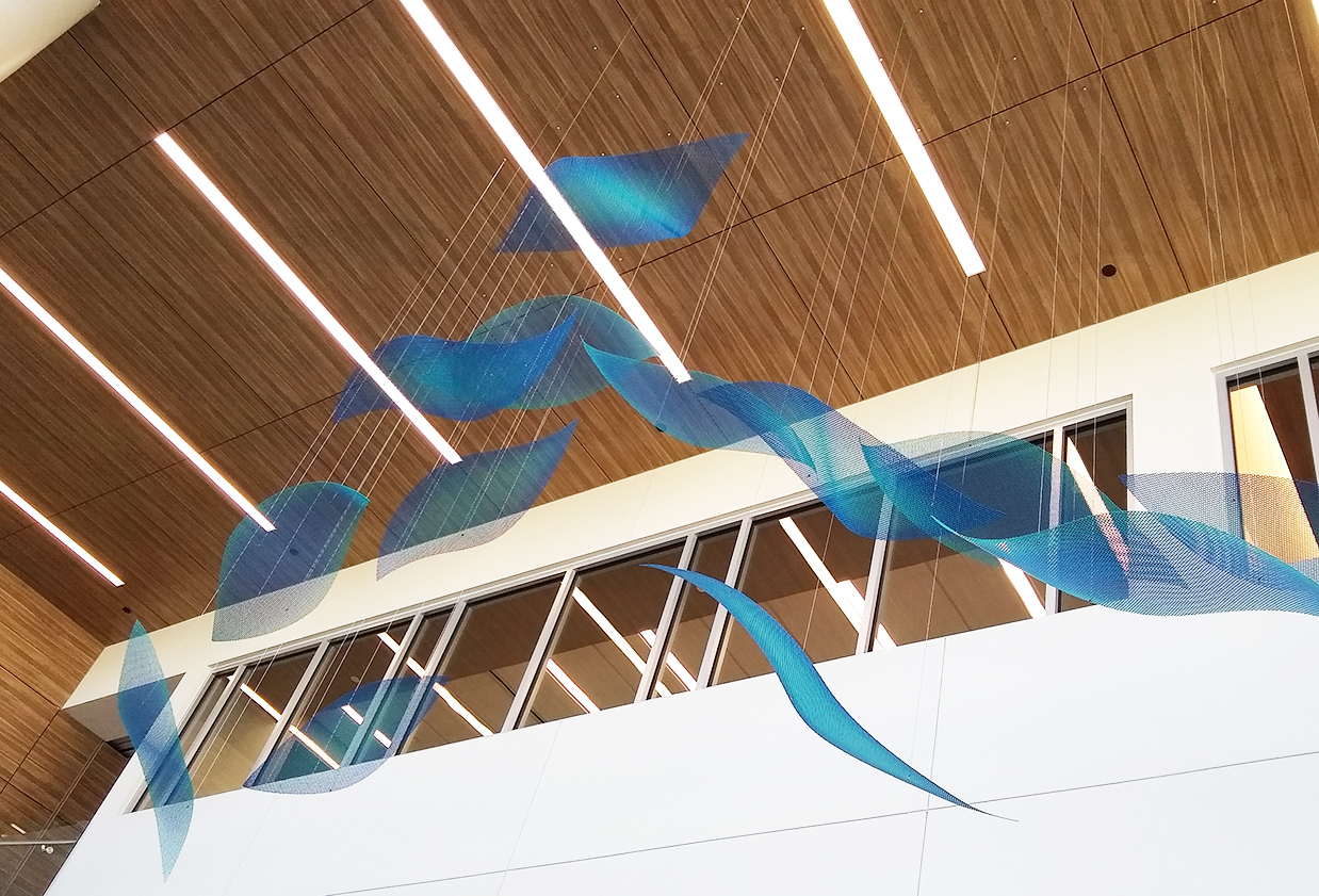 Blue elements from Harmony hanging sculpture by Talley Fisher