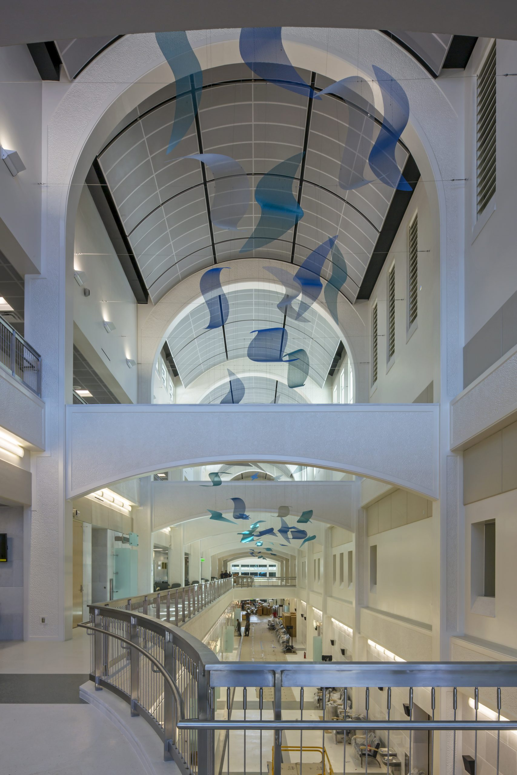 Sea Change sculpture by Talley Fisher hangs high in the atrium in US Naval Hospital, Guam