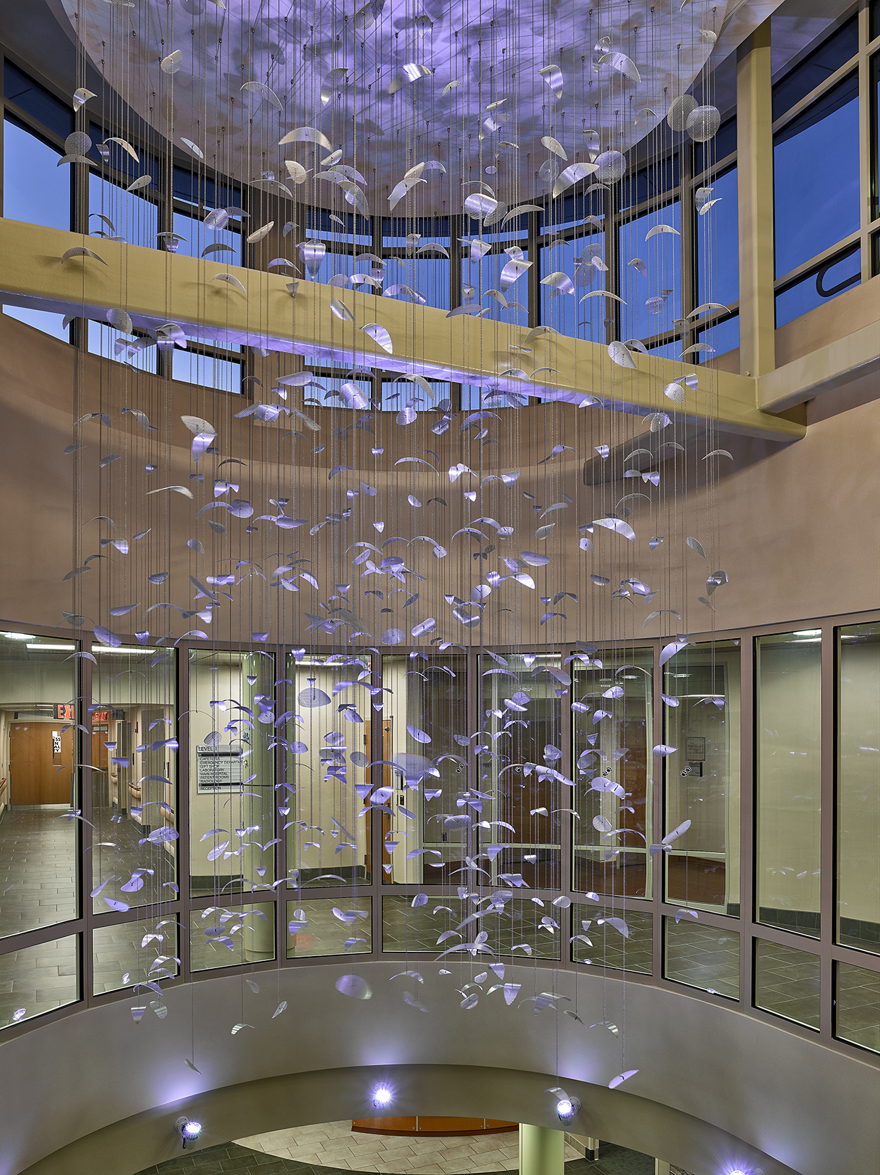 Constellation II suspended sculpture by Talley Fisher in a rotunda in Mount Nittany Medical Center.