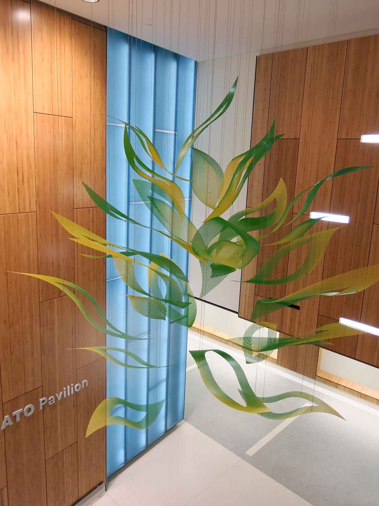 The bloom of Talley Fisher's Flower of Hope is suspended over a lobby in Santa Clara Valley Medical Center.