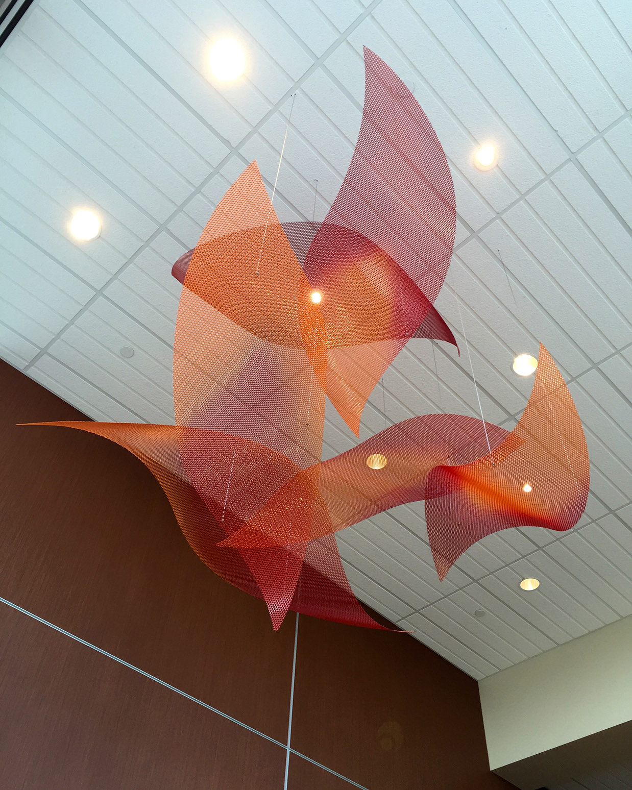 Autumn Uplift small suspended sculpture by Talley Fisher in Maple Grove Clinic and Specialty Center.