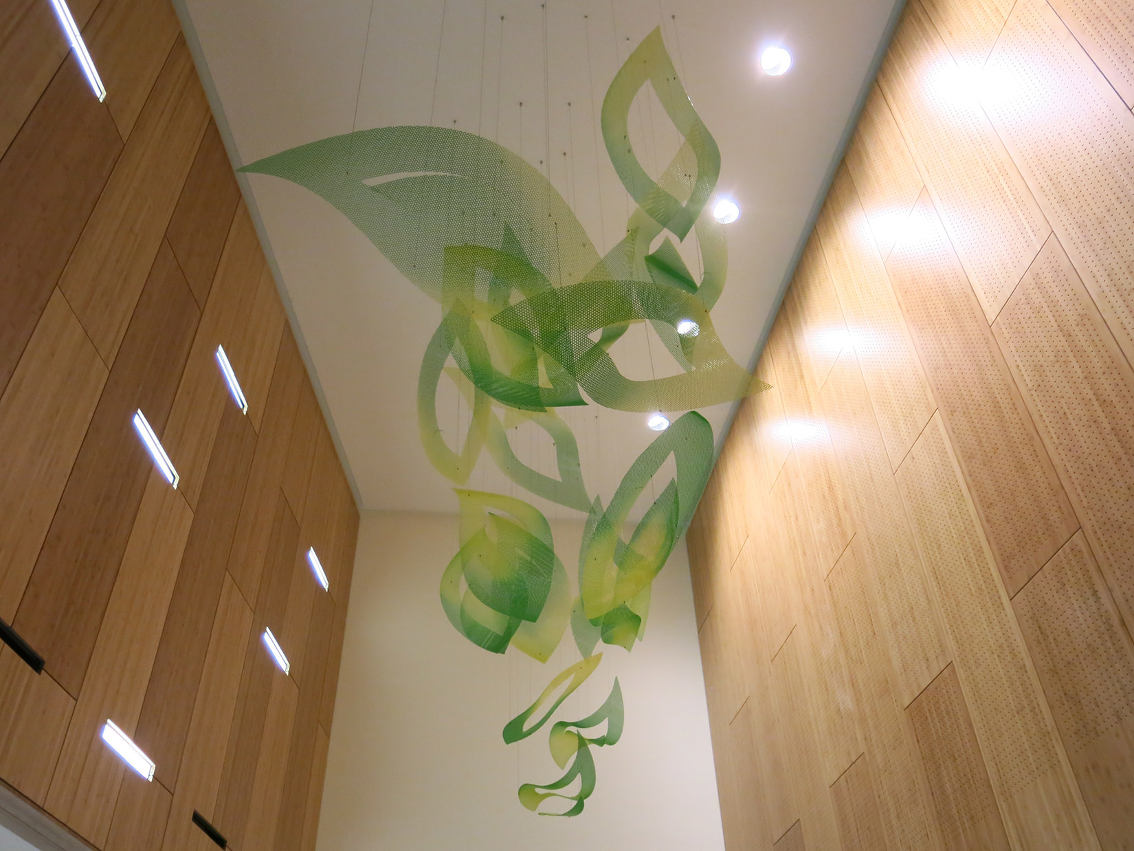 Suspended petal trail of Flower of Hope, hospital art by Talley Fisher in Santa Clara Valley Medical Center.