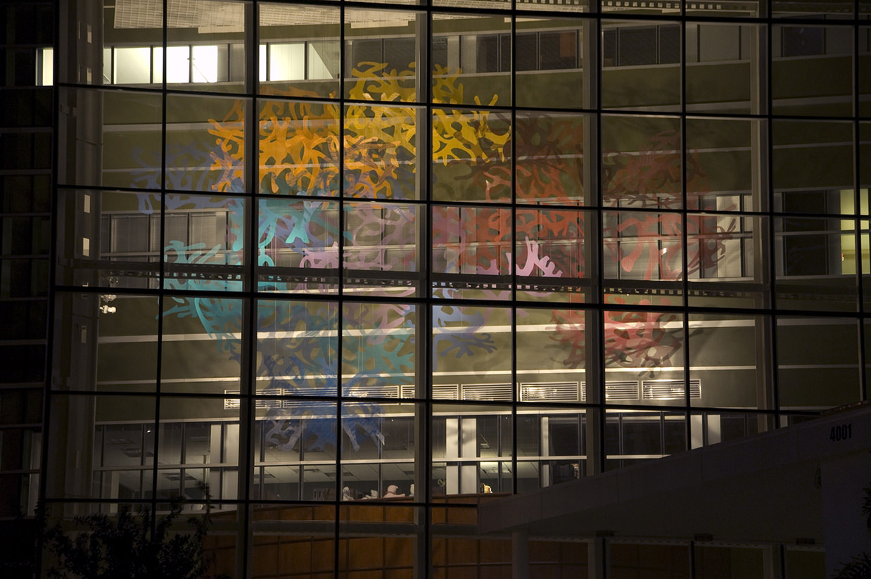 Neuron Forest sculpture by Talley Fisher illuminated in Johnnie B. Byrd, Sr. Alzheimer's Center and Research Institute