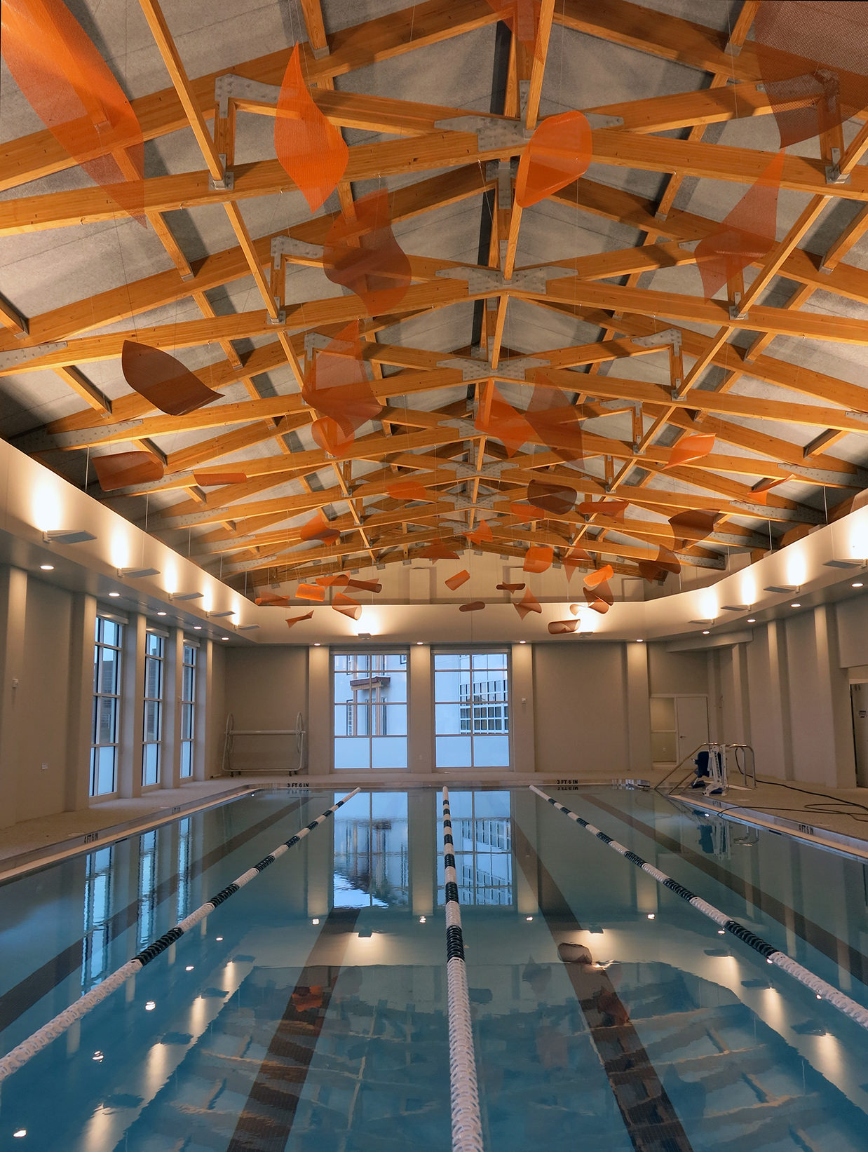 Suspended healthcare art sculpture by Talley Fisher in the indoor pool of Aurora Health and Wellness Center.