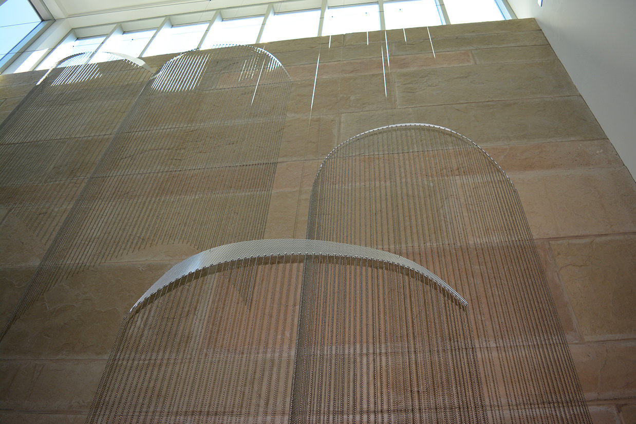 Soft Rains suspended sculpture by Talley Fisher at Mount Prospect Public Library