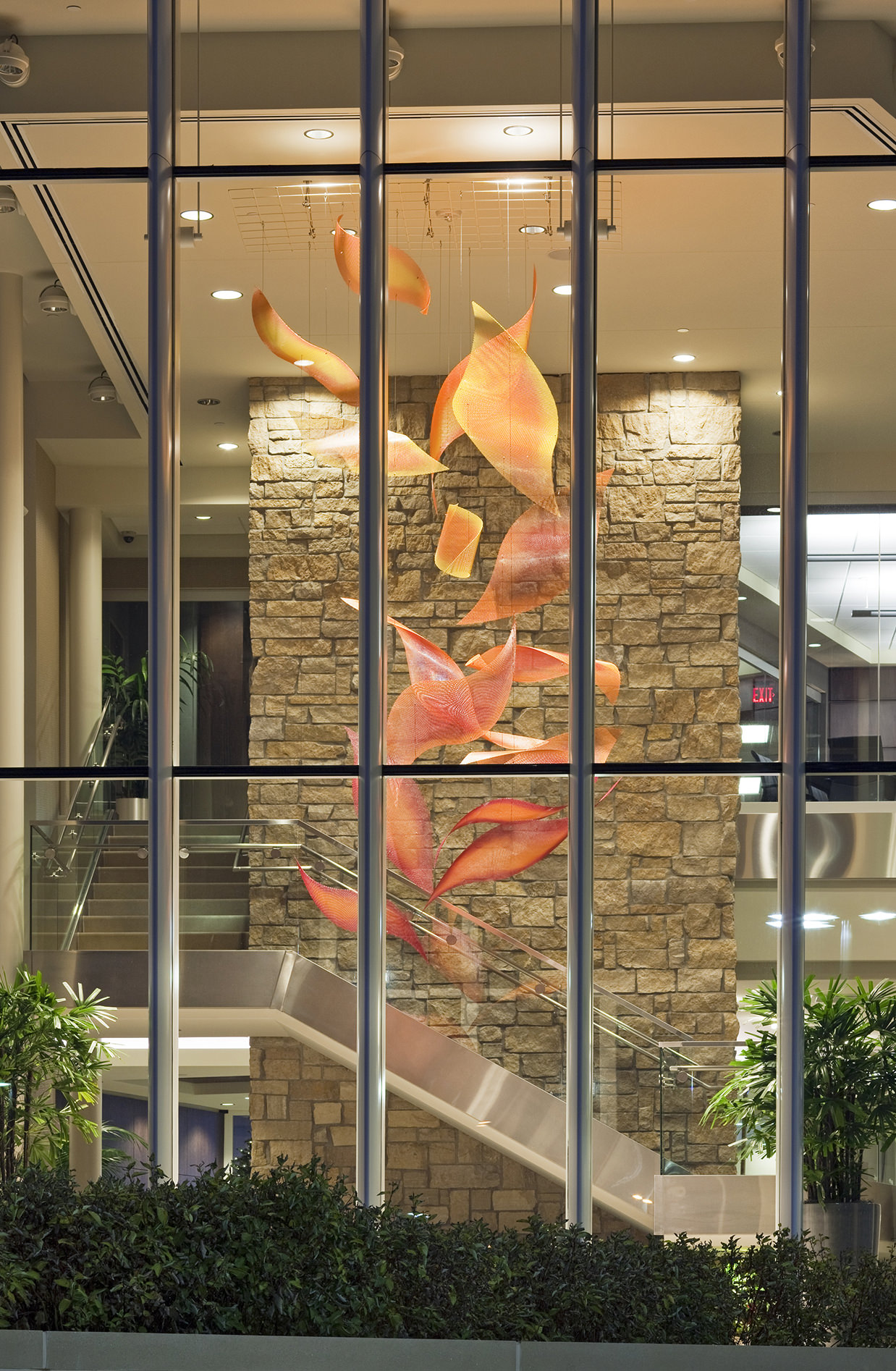 Outside view of Talley Fisher's Sunrise Cascade suspended in the lobby of Pinnacle Bank Headquarters
