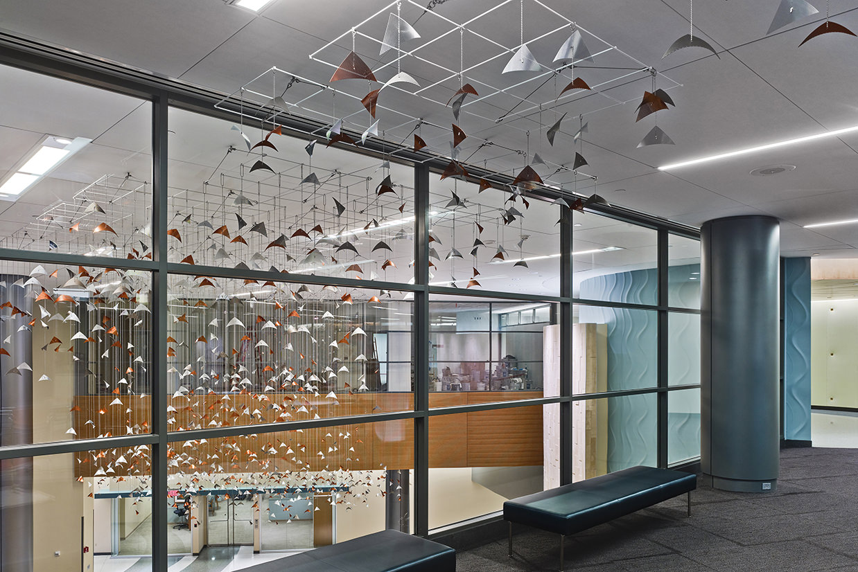 Copper and silver elements from Susquehanna Reverie, aerial sculpture by Talley Fisher at UPMC Susquehanna