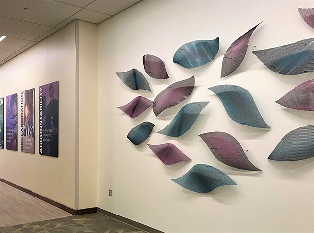Talley Fisher's wall mounted sculpture for CareSource in Dayton, OH.