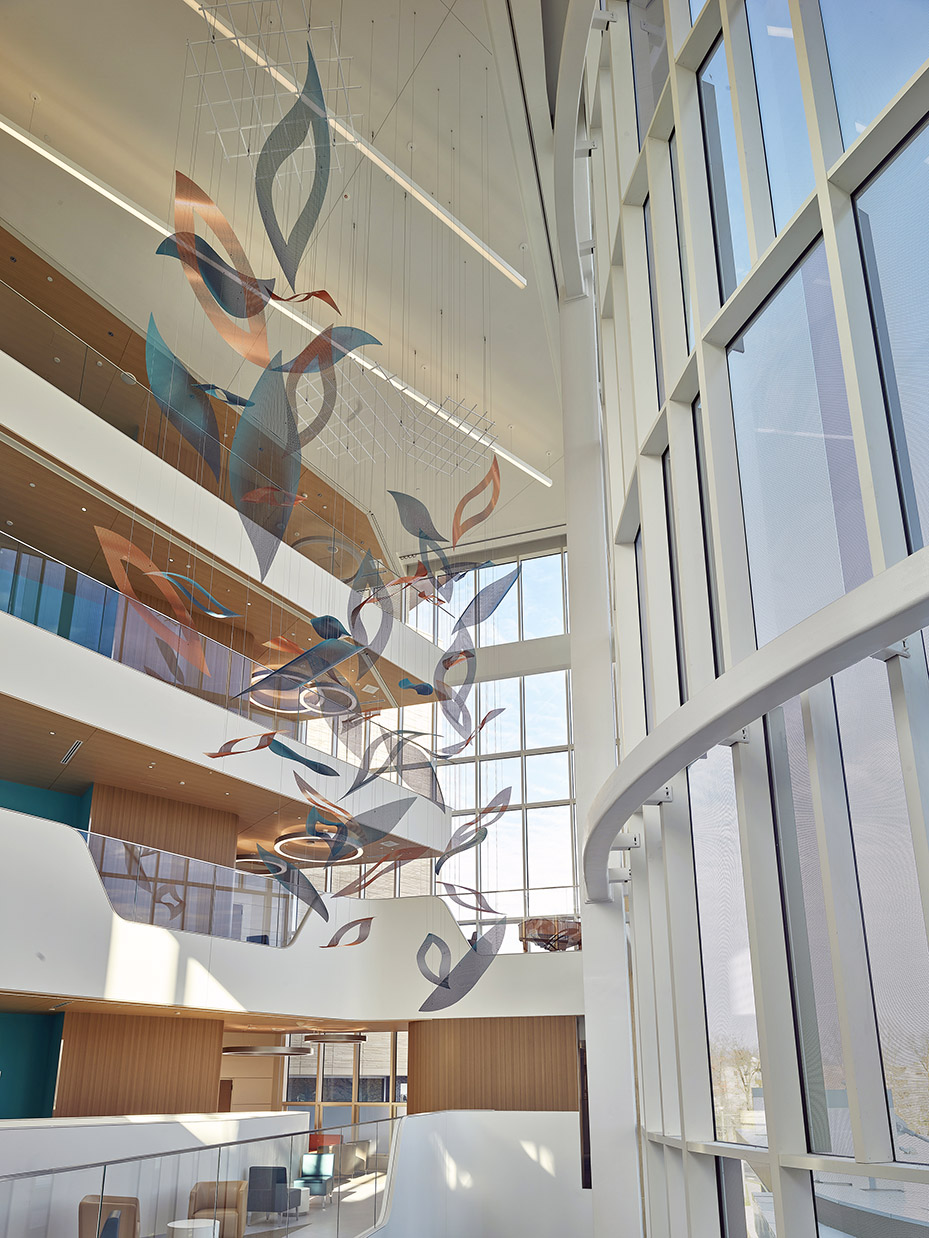 Nature's Symphony suspended atrium sculpture as seen from the second floor.